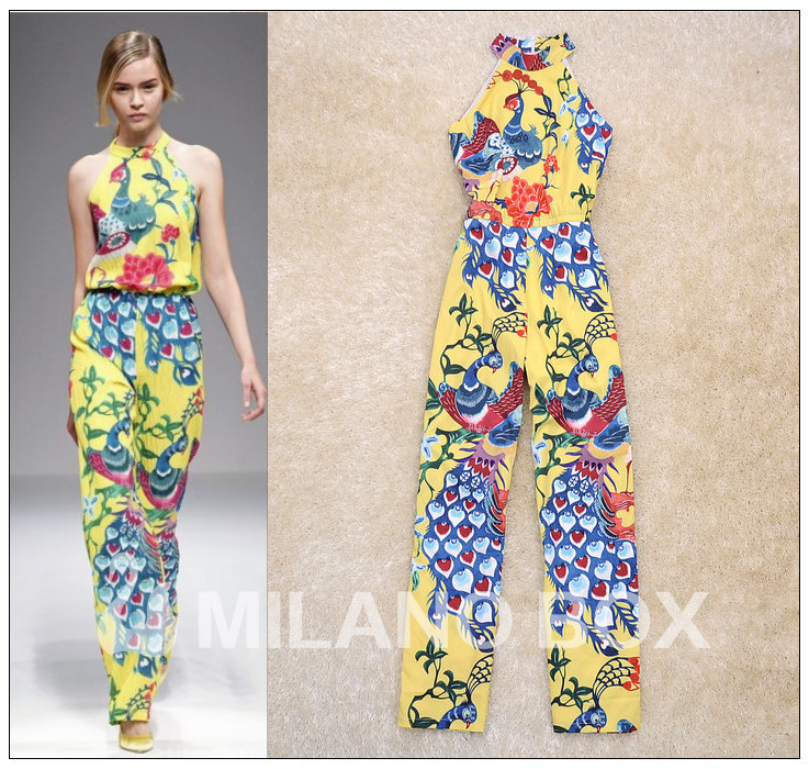 Free shipping 2013 Summer Newest Runway Fashion Peacock Printing Sexy Halter Wide Leg Women's Jumpsuit Rompers Long RD130127