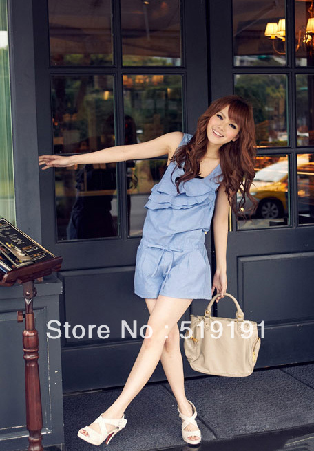 Free shipping 2013  summer solid ruffle jumpsuits overall,women shorts,women jumpsuits