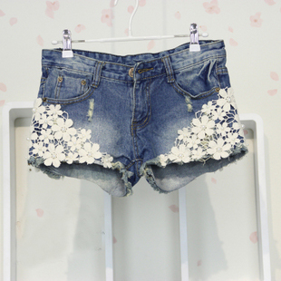 Free shipping 2013 summer women's fashion lace denim shorts jeans rivet S-M-L-XL