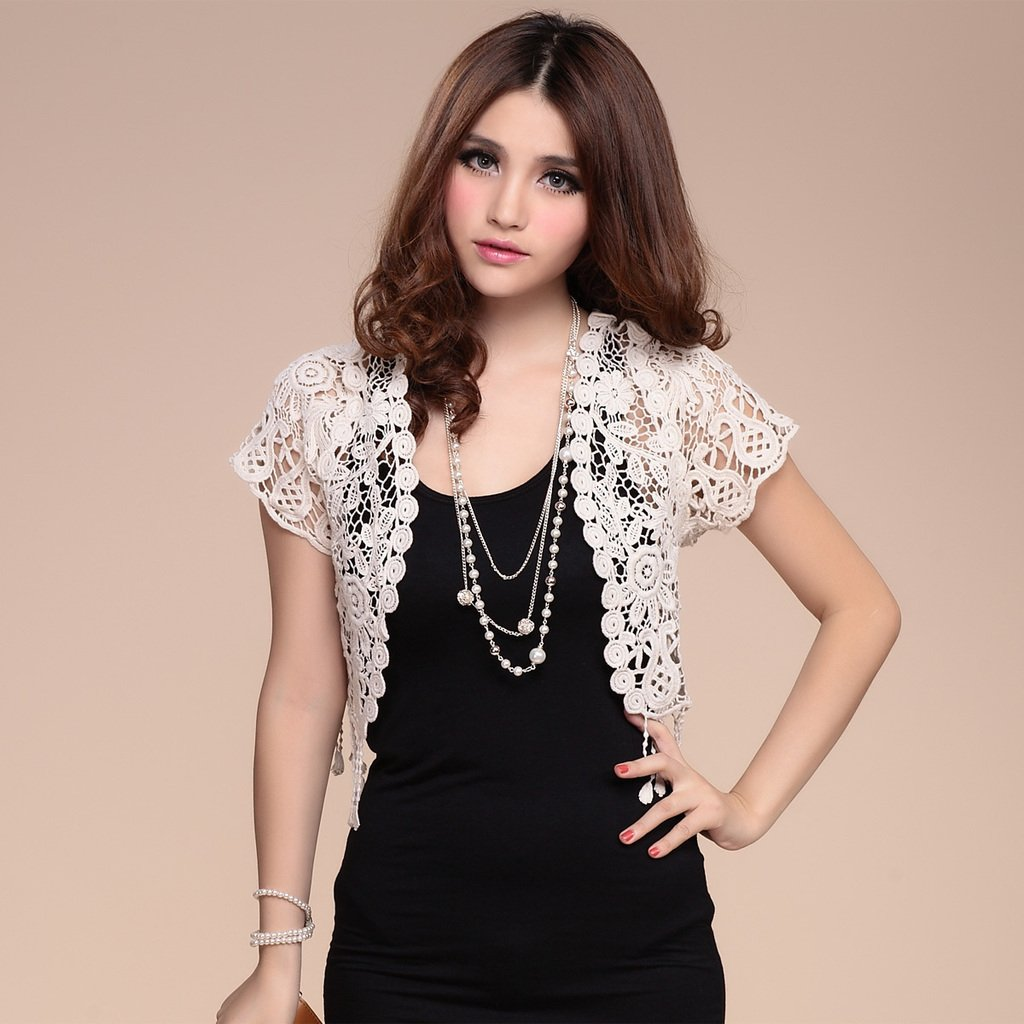 Free Shipping! 2013 Summer Women's Short-sleeve Cape Short Crochet Hollow Out Sweater Lace Cardigan Shurg Black,White B06678#