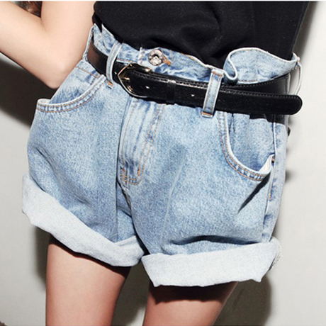 Free Shipping 2013 Vintage High-waist Denim Shorts Women Loose Wash Blue Jeans Shorts With Belt Casual Wear IRIS Knitting