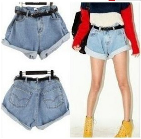 Free Shipping 2013 Vintage High-waist Denim Shorts Women Loose Wash Blue Jeans Shorts With Belt Casual Wear IRIS Knitting DK-003