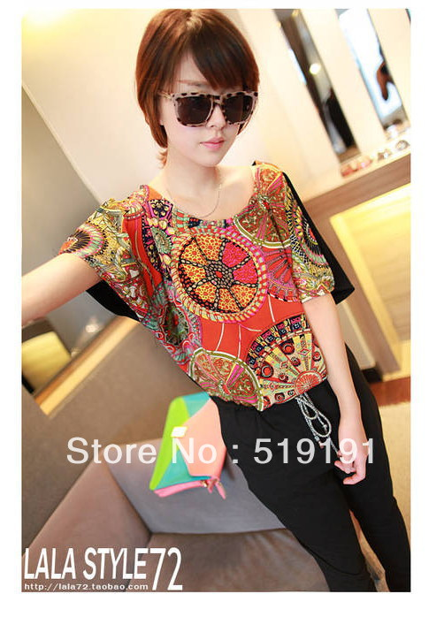 Free shipping 2013 western style  color blocking short sleeve jumpsuits overall,women casual pants /black,light gray