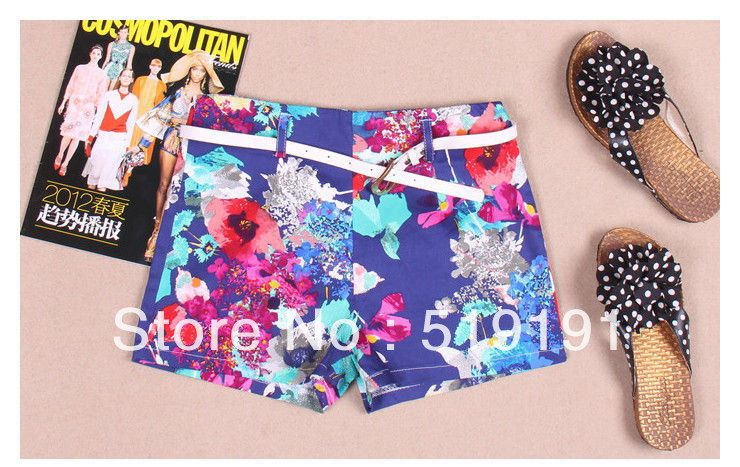 Free Shipping 2013  Western Style Summer Floral Print   Shorts/Beach Shorts/Hot Pant/S  M   L