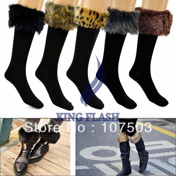 free shipping 2013 Winter Warm Cotton Half Long Socks Faux Fur Purfle Cover Boot Shoes Snow Stockings 5 Colors 9262