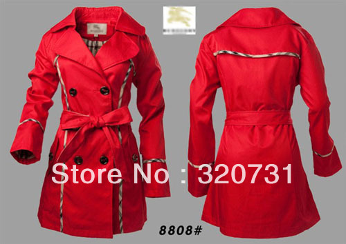 Free Shipping 2013 Women Famouse Brand Bur Long Double Breasted Spring Trench Coat/Vintage Lace Outerwear #8808 Wholesale/Retail