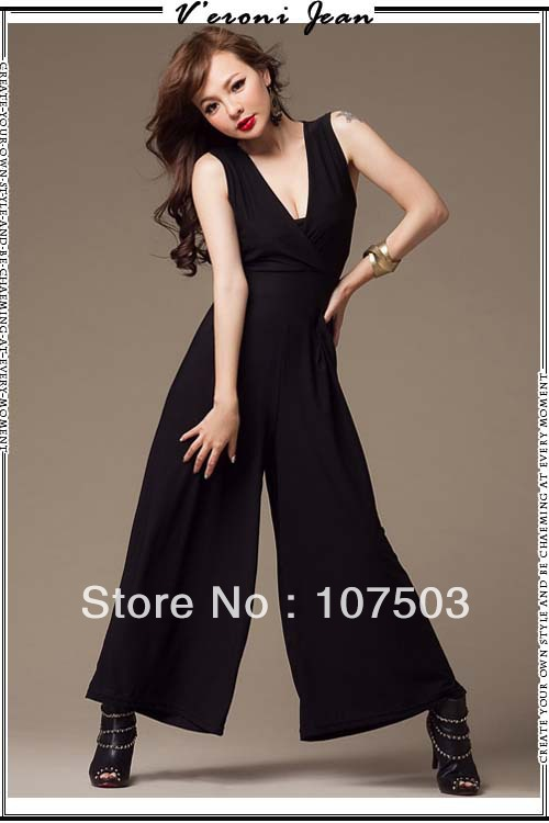 Free shipping 2013 women ladies summer new sexy back drape gauze wide trousers vest one-piece pants jumpsuit overalls w3466