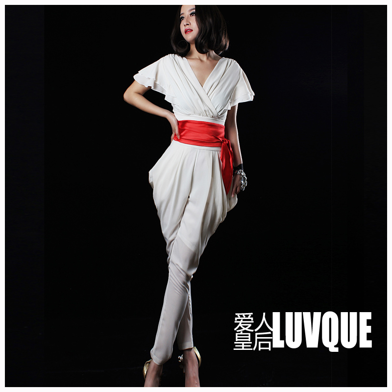Free Shipping 2013 Women Silm Summer  V-neck  chiffon jumpsuit ,Maxi size  high waist overalls for women+belt