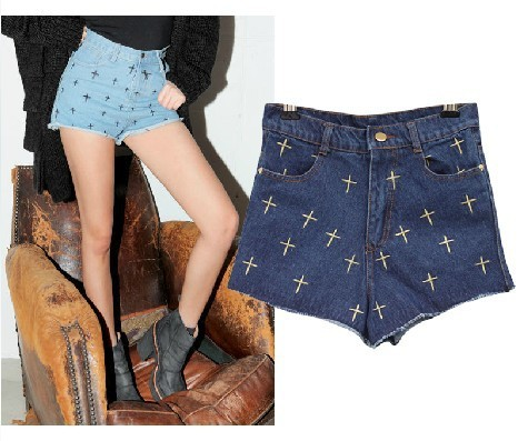 Free Shipping 2013 Women The cross pattern denim Jeans Shorts Torn High waist Jeans short pants