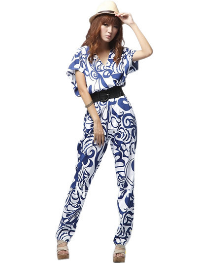 free shipping 2013 womens new fashion blue black v neck short sleeve long design jumpsuits pant ladies spring summer rompers 685