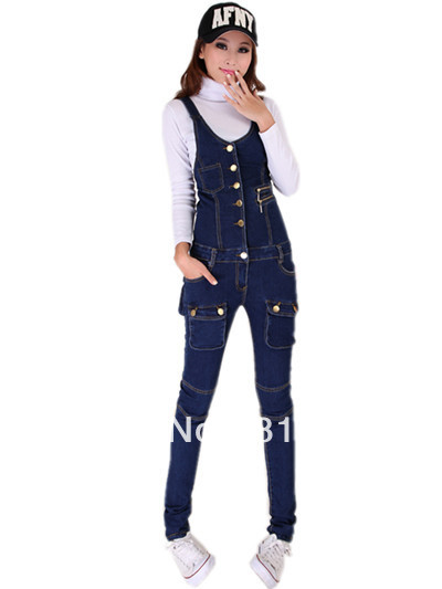 free shipping 2013 womens new fashion korean high waist skinny slim denim cotton jumpsuits ladies spring long pants jeans 640
