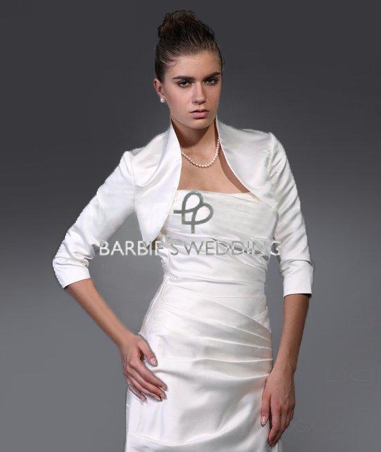 Free Shipping 3/4 Length Satin Shrug Jacket Bolero Wedding Wrap