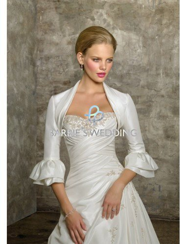 Free Shipping 3/4 Length Satin Shrug Jacket Bolero Wedding Wrap