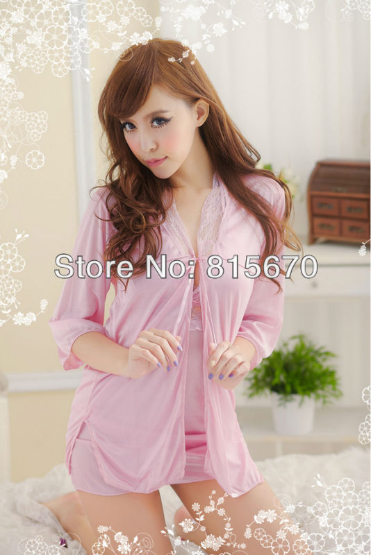 Free Shipping 3 pieces lingerie for sex,sexy sleepwear,sexy nightgown robe,Pink Color,High Quality!!Sleepwear Sets