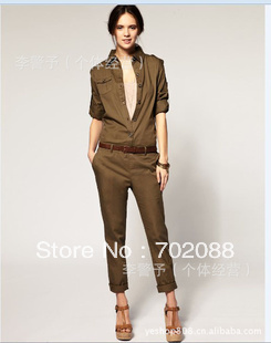 Free shipping 3pcs Womans dress Pants  Rompers Two wear sleeve Single-breasted Epaulet decoration Cotton