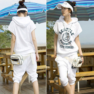 Free Shipping 4013 # 2013 summer new Korean version of the leisure suit big yards set