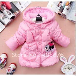 Free shipping 4pcs/lot 3colors girl hoody girl' outwear carton minne coat clothing warm spring autumn wear,dim thick coat
