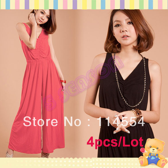 Free Shipping 4pcs/Lot Korea Women's Sexy Deep V-Neck Sleeveless Ruching Jumpsuit 2 Colors 11016