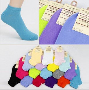 Free Shipping 5 pairs Candy Colors 100% Cotton Womens Fashion Low Cut Ankle Crew Slipper Socks 18 colors