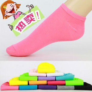 Free Shipping 5 pairs Candy Colors 100% Cotton Womens Fashion Low Cut Ankle Crew Slipper Socks