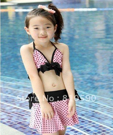 Free shipping (5 pieces/lot)NEW sexy bikini Pink round little girl bathing dress Wholesale & Retailsexy