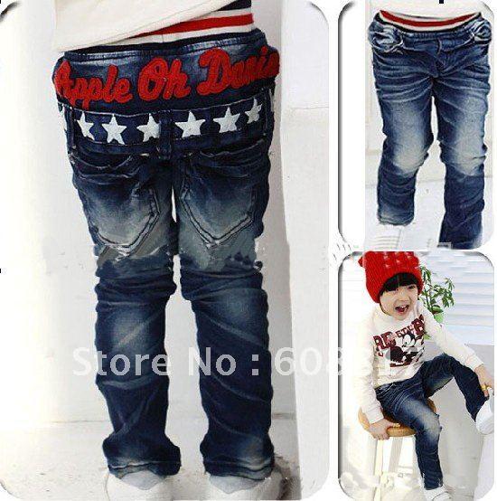 Free Shipping 5pcs design children star jeans fashion boys blue jeans kids star pants kids jeans children's pants kids wear