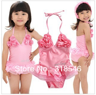Free shipping 5pcs/lot baby swim clothes baby girl ballet dress swimwear with flower + hat suitable for 3-7years girl