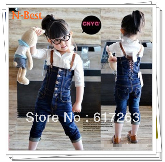 Free shipping 5pcs/lot children 3-7 yrs old baby bule overalls jeans girls pants size#90-130