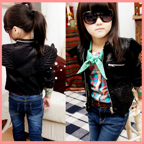 Free shipping 5pcs/lot size100-140 autumn wings oblique zipper turn-down collar faux leather clothing outerwear 3-8years jacket