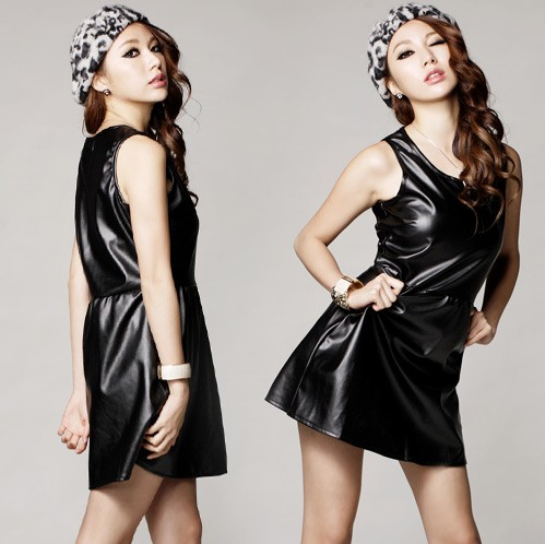 Free shipping 70063 black faux leather one-piece dress