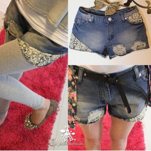 Free Shipping 8837 # (special) to do the old rivet holes pearl lace denim shorts