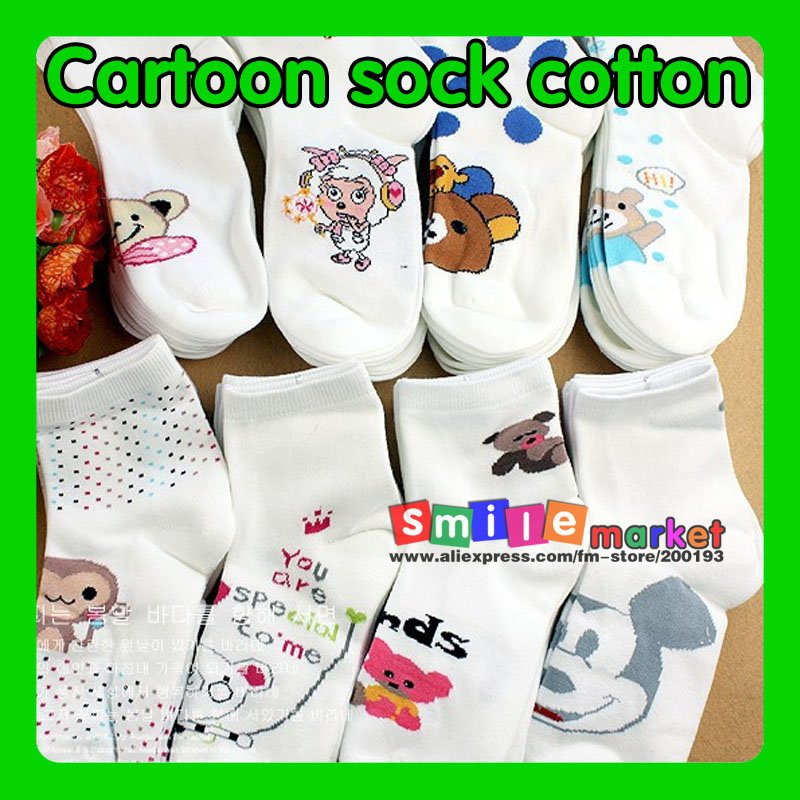 FREE SHIPPING 8pair/lot  New lovely women's Cartoon socks Cotton socks