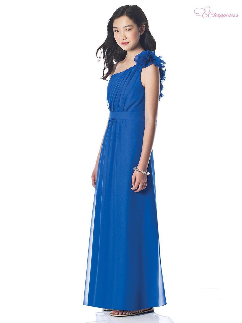 Free Shipping A Line One Shoulder Floor Length Chiffon Flower Communion Dress 20121108211