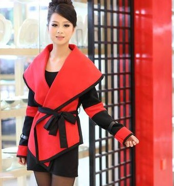 Free shipping A073 2012 fashion woolen color block decoration trench outerwear woolen overcoat