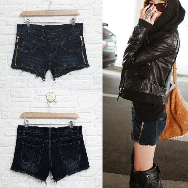 Free Shipping#A9028 # South Korea women's new dual-zipper jeans Shorts