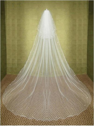 FREE SHIPPING Aesthetic bride wedding veil 3 meters long double layer rhinestones veil wave soft screen comb veil t39
