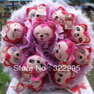 Free shipping Ahri cartoon doll bouquet birthday gift dried flowers ideas girls Valentine's Day Gifts W565