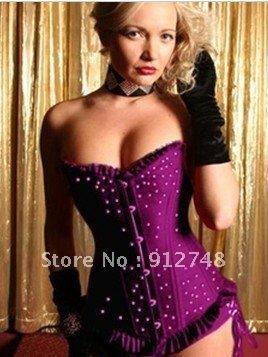 Free shipping! All steel bone model body underwear corsage tight color black blue purple  redA-61