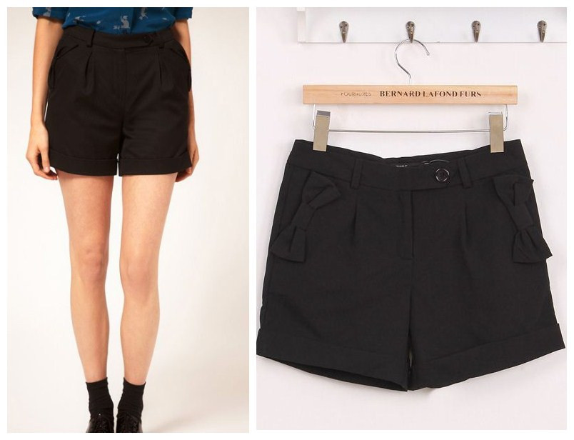 free shipping, American and European style 2012 women's new listing autumn bow short pants black color S M L sizes