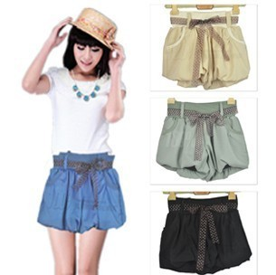 free shipping AMIO candy color bloomers beach pants bow shorts hot sale wholesale