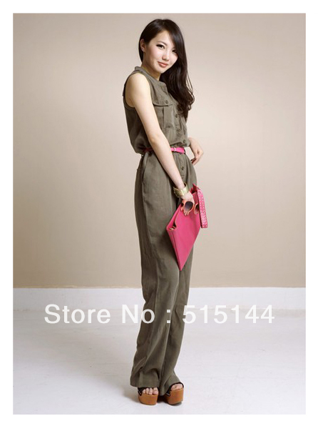 Free shipping Army green Pocket Open buckle Collar Wide leg Easy Siamese trousers MI90058