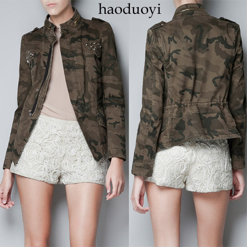 Free shipping army jacket with diamond decoration in pocket