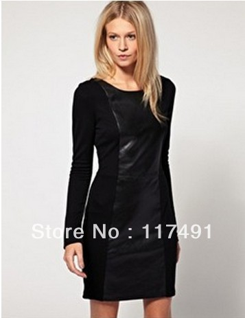 free shipping aso 2013 fashion PU leather stitching dresses OL elegant vintage bottoming dress black  ft224