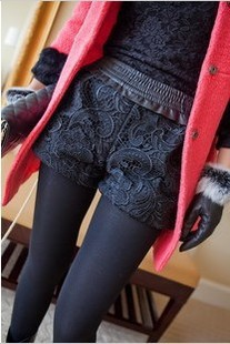 Free shipping autumn and winter Fashion Korean lace patchwork pants vintage high waist woolen women's shorts black gray
