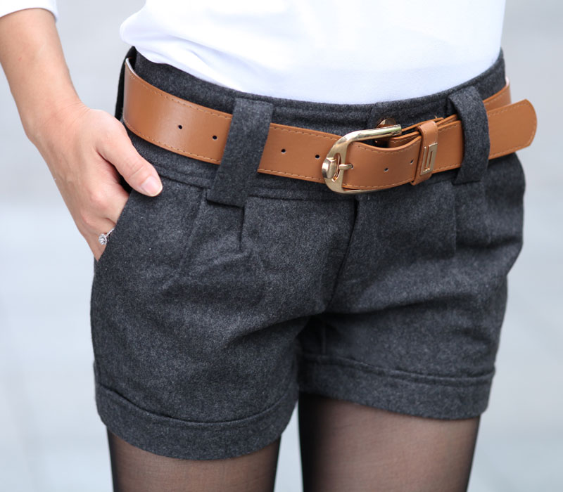 Free shipping autumn and winter Korean Fashion all-match woolen roll-up hem women's shorts boot cut jeans with belt /2 color