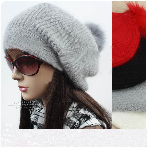 free shipping Autumn and winter women's rabbit fur hat knitted hat winter knitted hat grey massed cap
