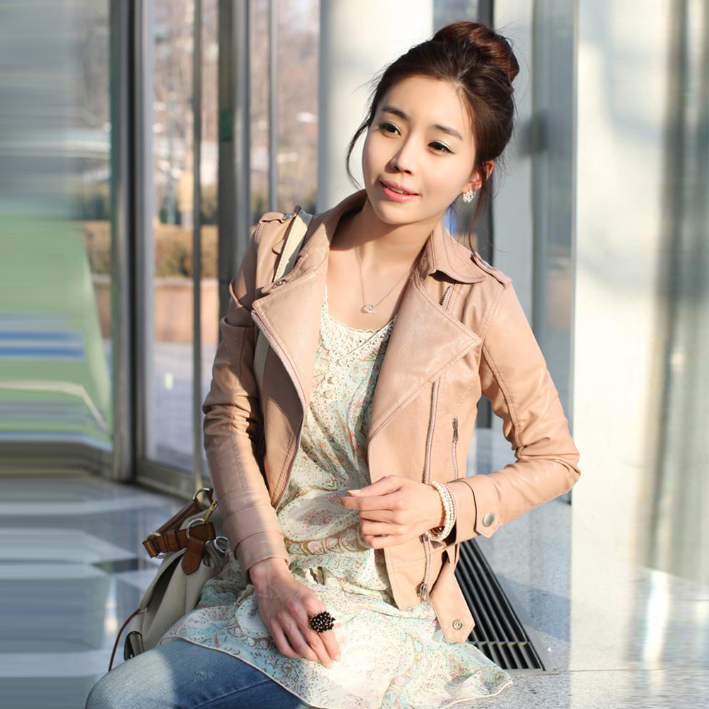 Free shipping Autumn New Women's Zipper PU Leather Jacket Lady Coat Outerwear LM235