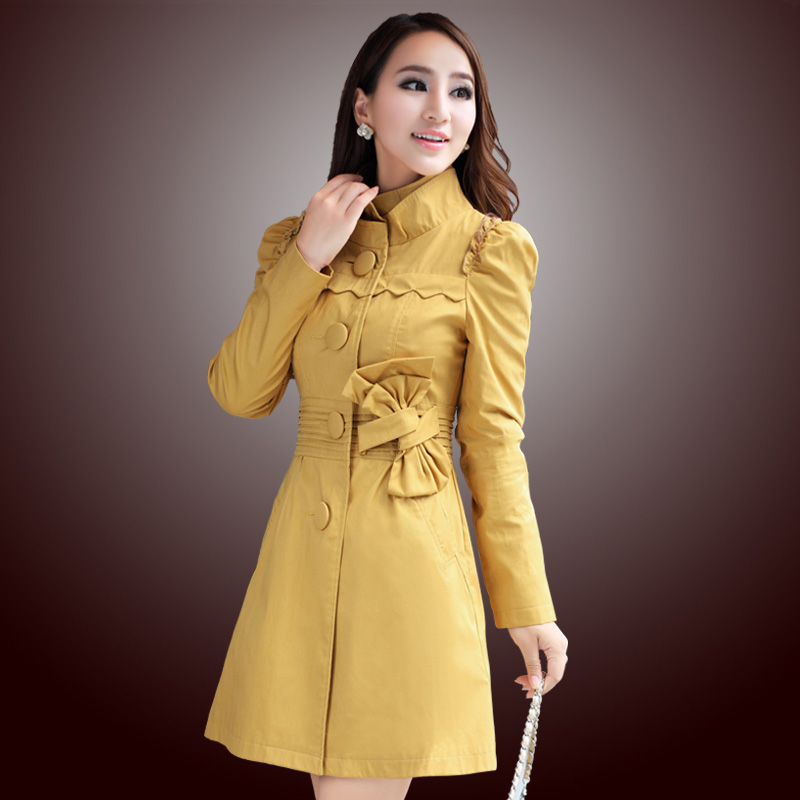 Free shipping Autumn women's trench long design slim outerwear plus size stand collar trench