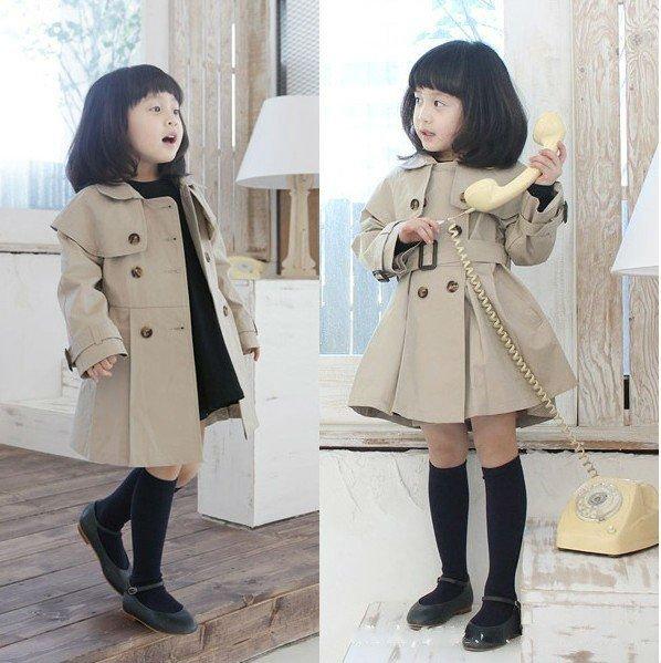 free shipping baby gir kid child wind coat jacket outwear maternity Mac with belt Detail Korea style