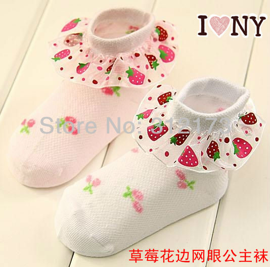 FREE SHIPPING--baby socks girls lace socks strawberry design summer wear kids lace lacework socks 100% cotton 2pair 0306-3